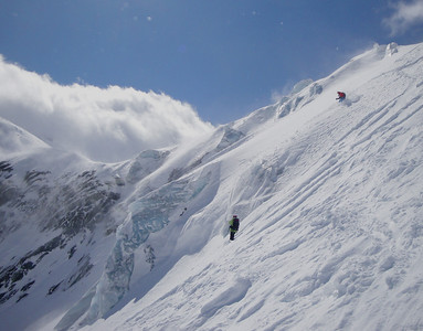 Skiing off the Aiguille du Midi