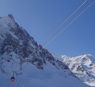 The Aiguille du Midi cable car which, in two stages, takes us 9,000 ft from the center of town to the glaciers in minutes.