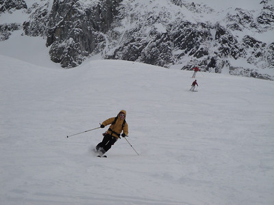 Skiing down the Brevard Glacier