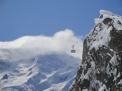 The Brevent cable car. Mont Blanc is shrouded in a lenticular cloud