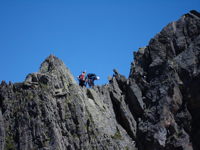 Climbers on the ridge of Aiguille Crochue