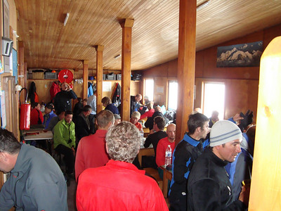 Inside the Gouter Hut high on Mont Blanc