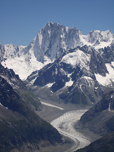 A view of the Grand Jorasses and the Mer de Glace from the Crochue