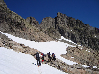Approaching our first acclimating climb, The Crochue Traverse