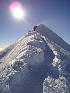The final snow ridge to the summit