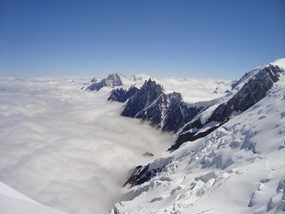 An amazing view of the Aiguille du Midi and the Aiguille Vert while on the descent of the Gouter Route.