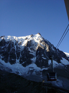 The amazing Aiguille du Midi tramway, our transport to another training, acclimating climb - The Cosmiques Ridge