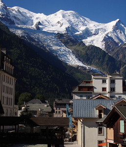 Mont Blanc from the center of Chamonix