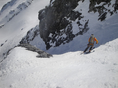 Dropping into a steep chute on the descent down the Gran Zebru