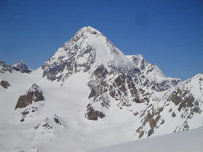 The magnificent Gran Zebru or Koenigsptize. One of the top ski mountaineering objectives in the Alps