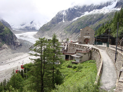 The train station at Montevers with the Mer de Glace in the background