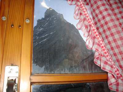 View from the dining table at the Hornli Hut