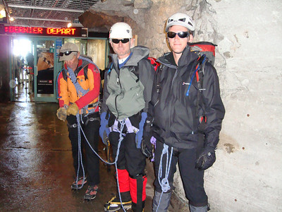 Roping up inside the Aiguille du Midi Tram station