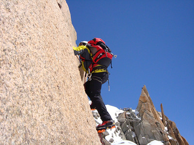 Climbing on the Cosmiques Ridge on the Aiguille du Midi