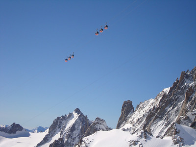 The Hellbronner gondola high above the Vallee Blanche with the Grand Capucin in the background