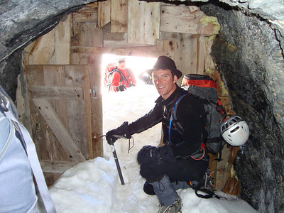 Crawling out the tunnel and on to the glacier
