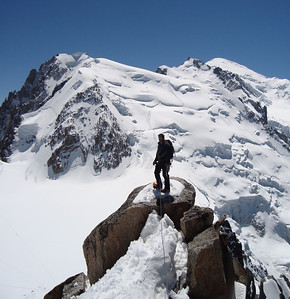 On the Cosmiques Ridge with Mont Blanc du Tacul, Mont Maudit and Mont Blanc in the background