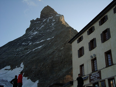 The Hornli Hut at the base of the Matterhorn's Hornli Ridge