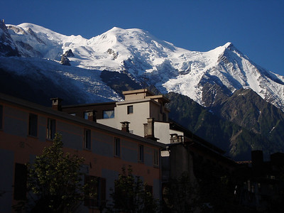 Mont Blanc from Chamonix, 12,000 feet above town