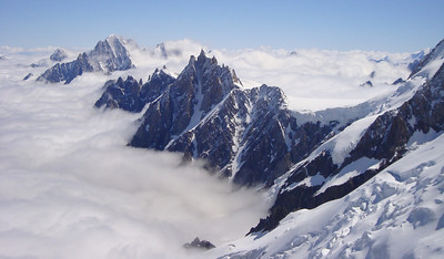 View of the Midi on the descent from Mont Blanc