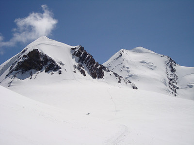 Pollux (on the left) and Castor, One of two choices for training and acclimating climbs in the Zermatt area