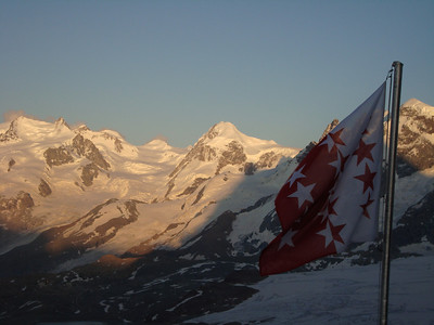 An evening view from the Hornli Hut with Monte Rosa in the background