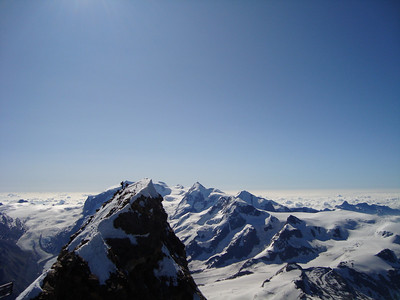The Swiss summit of the Matterhorn from the Italian summit