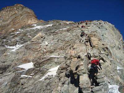 Climbing up the Hornli Ridge 2/3 of the way up