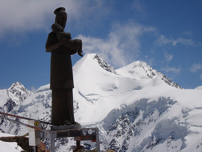 Near the summit of Pollux with Monte Rosa in the background
