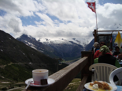 A coffee and a strudel.  A typical end to a climb in Europe.
