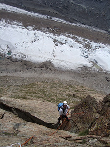 Climbing on the South Face of the Riffelhorn with the Gorner Glacier 1200 feet below
