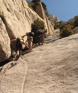 Climbing towards the summit mid way up