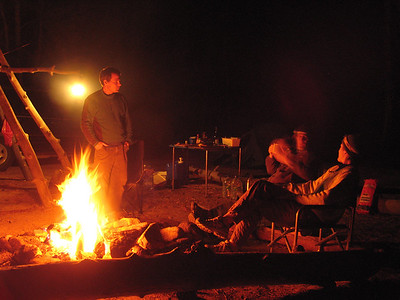 Relaxing around a campfire at the trail head
