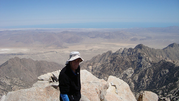The summit with a view of the Sea of Cortez in the distance