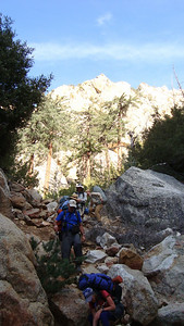 Scrambling down the head of the Canyon