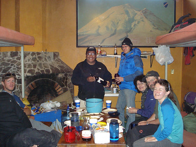 Dinner at the climbers lodge