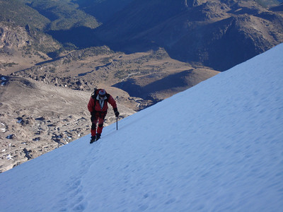 Climber high on the Jamapa Glacier