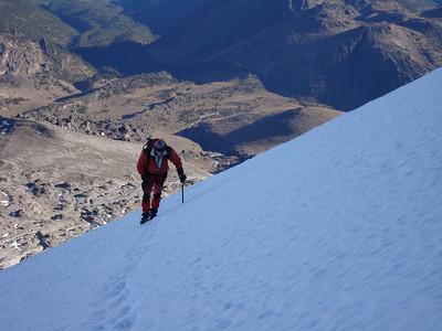 Climber high on the Jamapa Glacier
