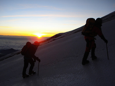 Sunrise on the Jamapa Glacier, 16,000 ft