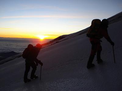 Sunrise on the Jamapa Glacier, 16,000 ft
