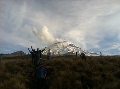 Stopping to admire Popocatepetl on the way up to our first night on Iztacihuatl. Popo has been closed to climbing since the 1990's. The smoking crater explains why!