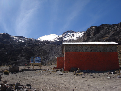 A view of he summit of Orizaba from the hut at Piedra Grande