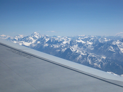 First view of Aconcagua from the flight between Santiago and Mendoza