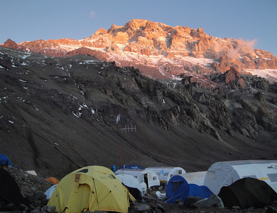 A view of Aconcagua from Plaza de Mulas base camp