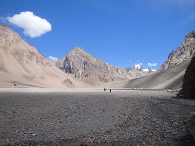 Hiking into base camp along a very barren landscape