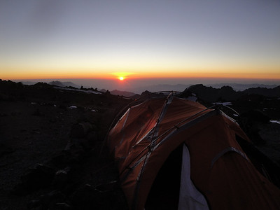 Sunset over Argentina at a high camp
