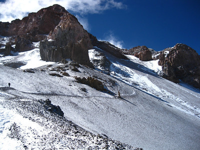 """The Traverse passes by """"The Finger"""" en route to the Canaleta on summit day."""