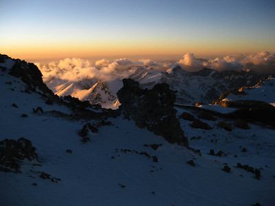 A rest day at high camp (19,000') offers unsurpassed views of the Andes Mountains.