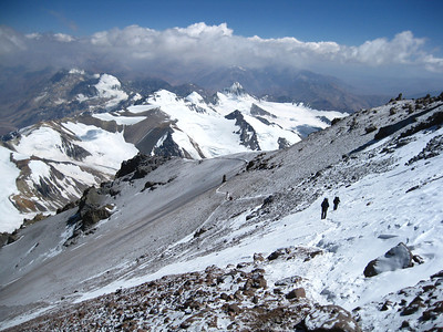 Looking back at the traverse and the Chilean Andes from the base of the Canaleta.