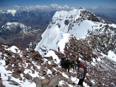 Approaching the summit of Aconcagua on a beautiful day.